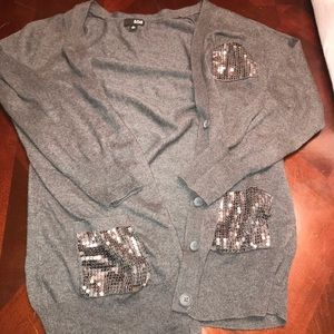 Sequin Pocket Button Up Cardigan